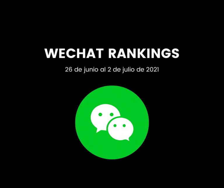 Lee más sobre el artículo Clasificación WeChat del 26 de junio al 2 de julio de 2021